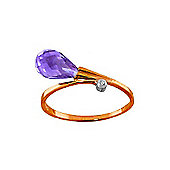 QP Jewellers Diamond & Amethyst Raindrop Ring in 14K Rose Gold