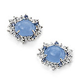 Sterling Silver Blue Chalcedony CZ Cluster Earrings