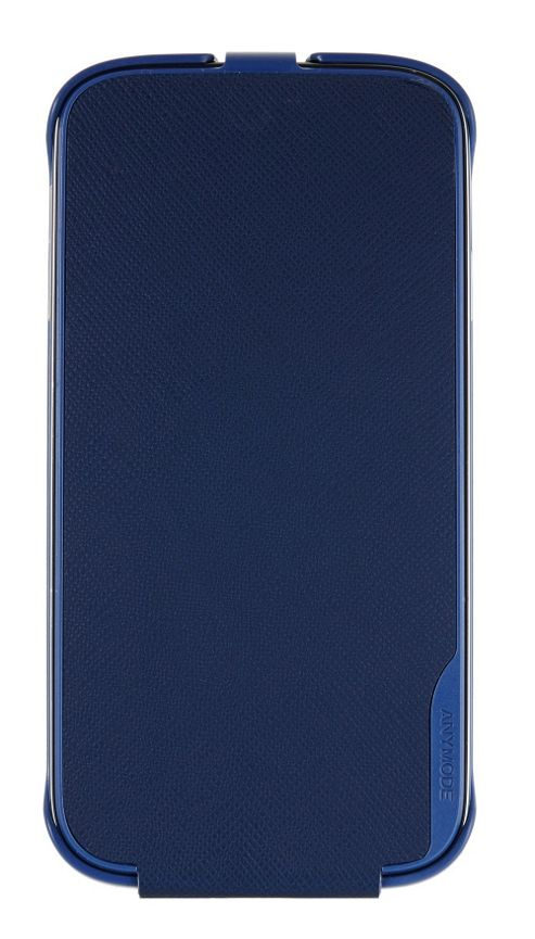 Anymode Samsung Elite Saffiano Pattern Leather Vertical Type Flip Case for Samsung Galaxy S4 - Blue