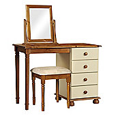 Nordic Cream and Pine Dressing Table, Stool, Mirror Package