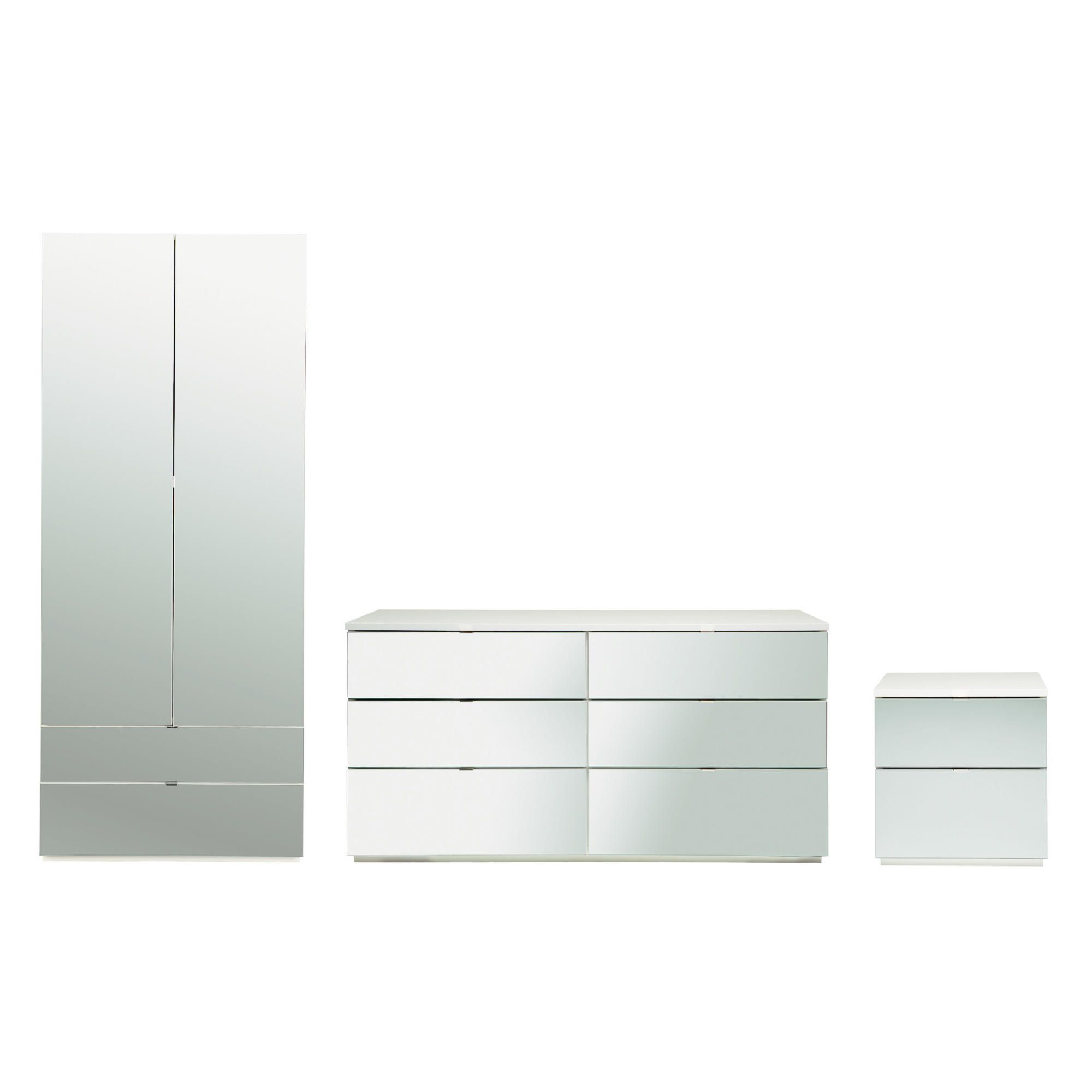 Palermo Package 2  White (Wardrobe, Bedside, 6 Drawer Chest)- Mirrored at Tesco Direct