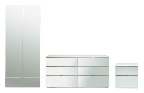Palermo Package 2 White (Wardrobe, Bedside, 6 Drawer Chest)- Mirrored