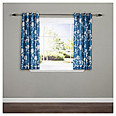 "Silhouette Floral Eyelet Curtains W117xL137cm (46x54""), Teal"