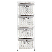 Tesco White Wicker Grey Stripe  Lined 4 Drawer Tower