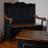 Oceans Apart Painted Provence Monks Bench in Antique Black