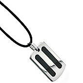 Mens Fred Bennett Black PVD Inset Strip Pendant Necklace