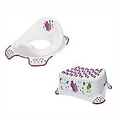 Hippo Step Stool and Toilet Training Seat White