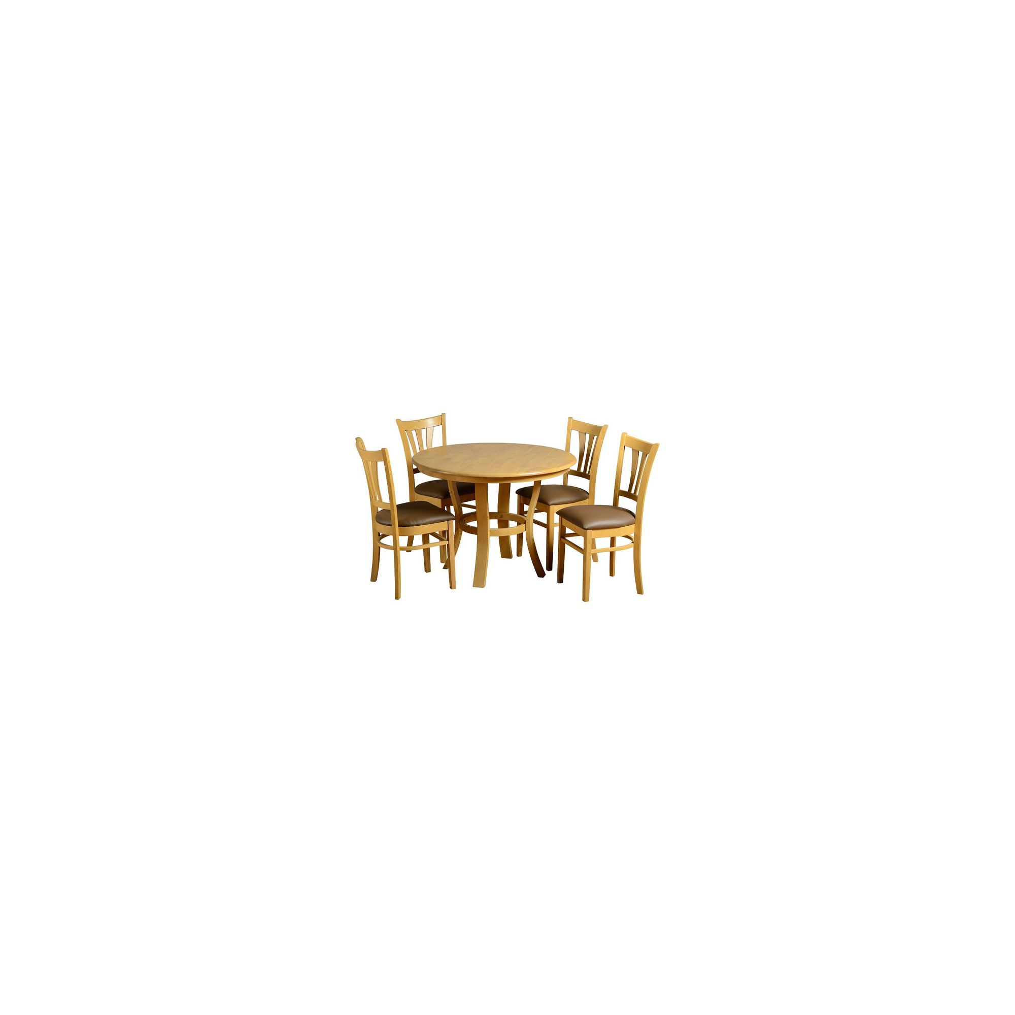 Home Essence Grosvenor Round 5 Piece Dining Set - Natural Oak Veneer at Tesco Direct