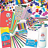 Crafts Essentials Value Pack for Kids - Gems Pearls Feathers Stickers Cards and Pens to Make Decorate and Personalise