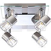 Home Essence Pineta 4 Light Semi-Flush Ceiling Light in Chrome and Nickel Matte