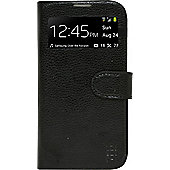 Tortoise™ Genuine Leather Flip Cover Case with Interactive Window Samsung Galaxy S4 Black.