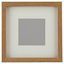 "Tesco Basic Photo Frame Oak Effect 7 x 7""/4 x 4""with Mount"