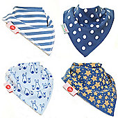 Zippy Stylish Blues Bandana Dribble Bibs, 4 pack, one size