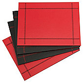 Set of 4 Faux Leather Black & Red Reversible Placemats
