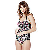 F&F Mixed Floral Print Bandeau Swimsuit - Pink