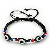 Evil Eye Acrylic Bead Protection Friendship Cord Bracelet In Black - Adjustable