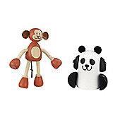Rosebud Village Monkey and Panda Set