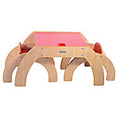 Littler Helper Fun Station Duo Toddler Table & 2 Chairs Set In Red/Maple Combo