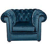 Snug City Club Chair Crushed Velvet Blue Chesterfield Sofa, Made In the UK.