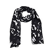Black Butterfly Print Long Scarf