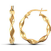 Jewelco London 9ct Yellow Gold Super Light polished candy twist hoop Earrings