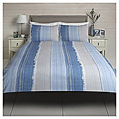 Tesco Washed Stripe Duvet Cover And Pillowcase Set - Blue