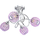 Home Essence Viola Extravagant 4 Light Semi-Flush Ceiling Light in Chrome