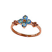 QP Jewellers 0.58ct Blue Topaz Ring in 14K Rose Gold
