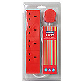 Status 4 Socket 2 Metre Extension Lead - Red