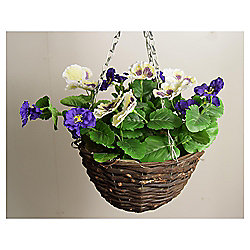 Artificial Purple and White Pansy Hanging Basket