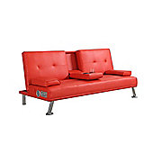 Comfy Living Faux Leather Sofa Bed with BLUETOOTH Speakers in Red