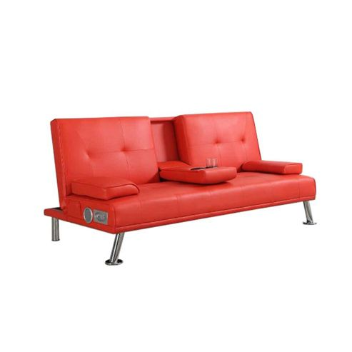 Buy comfy living faux leather sofa bed with bluetooth for Sofa bed tesco