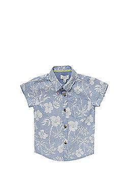 Pumpkin Patch Reverse Hawaiian Print Short Sleeve Shirt - Blue