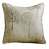 Homescapes Natural Filled Jacquard Cushion Embroidered Trees 43 x 43 cm