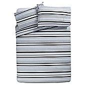 Basic Tonal Stripe Duvet Set Black, Double