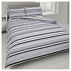 Basic Black Tonal Stripe Double Duvet Set