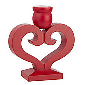 Red Wood Heart Christmas Candle Holder