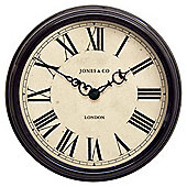 Jones & Co Large Savoy Clock 37 x 37cm Black