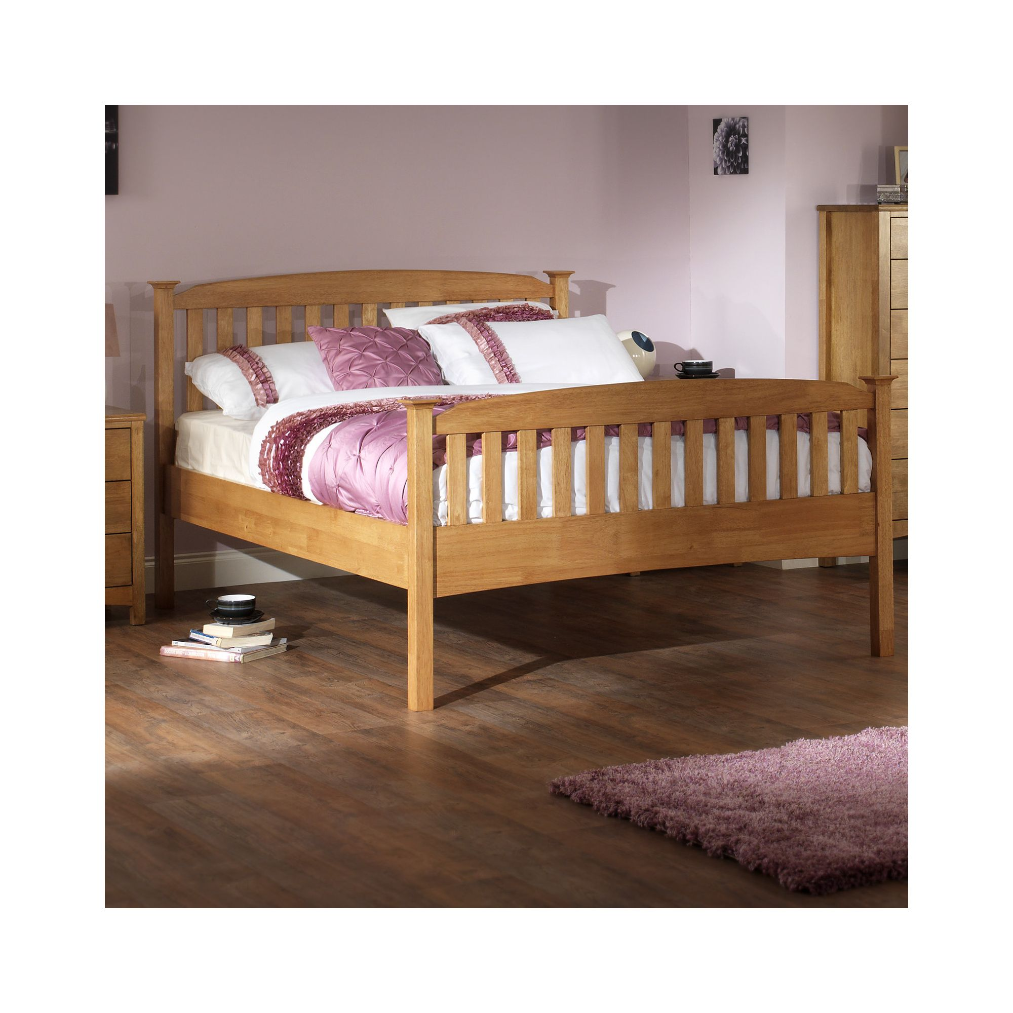 Serene Furnishings Eleanor High Foot End Bed - Honey Oak - Double at Tesco Direct