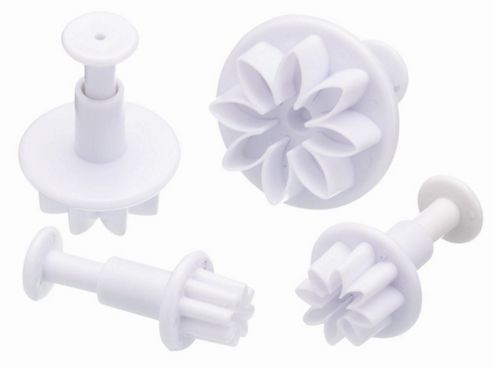 Set of Four Flower Fondant Plunger Cutters