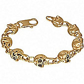 Urban Male Gold Finish Stainless Steel Eight Skull Link Bracelet