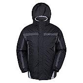 Dusk Mens Snowproof Hooded Fleece Lined Snowboarding Skiing Ski Jacket - Black