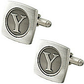 Antiqued Silver Plated Initial - Y Cufflink - Single