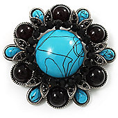 Vintage Turquoise Style Floral Corsage Brooch (Antique Silver Tone)