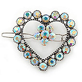 Vintage Inspired AB Crystal 'Open Heart' Hair Slide In Antique Silver Metal - 40mm Across
