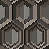 Muriva Hexagon Wallpaper - Charcoal