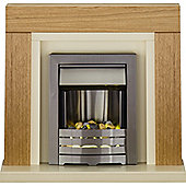 Adam Chloe Fireplace Suite in Oak with Helios Electric Fire in Brushed Steel