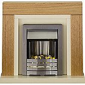 Adam Chloe Fireplace Suite in Oak with Helios Electric Fire in Brushed Steel