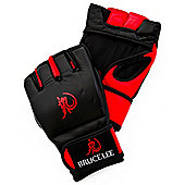 Bruce Lee Dragon Deluxe MMA Grappling Gloves Leather - Red