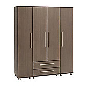 Ideal Furniture New York 2 Drawer Wardrobe - Gloss Black